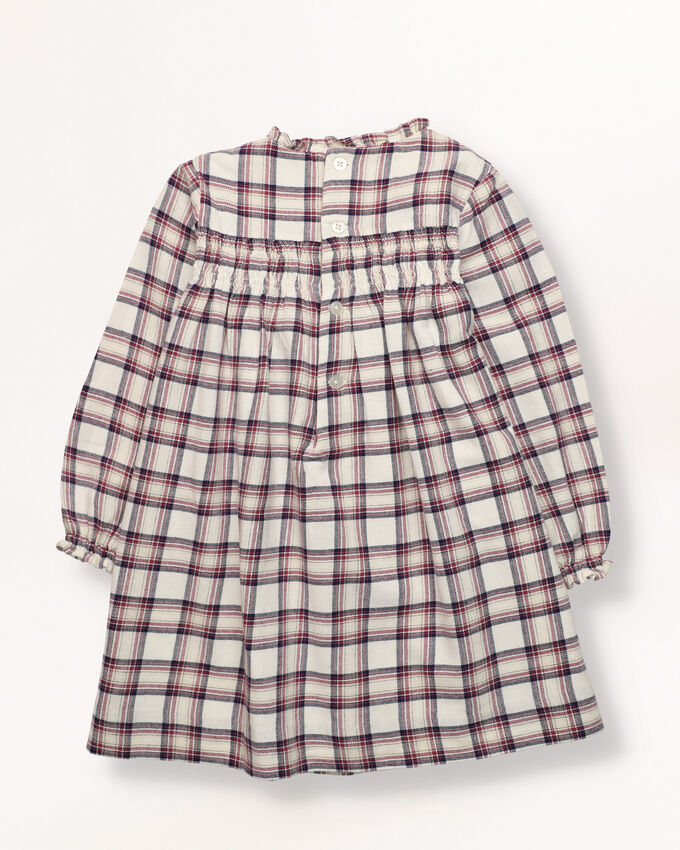 Girl dress with checks in off white, navy and cherry colors.  Smocking in chest and back.