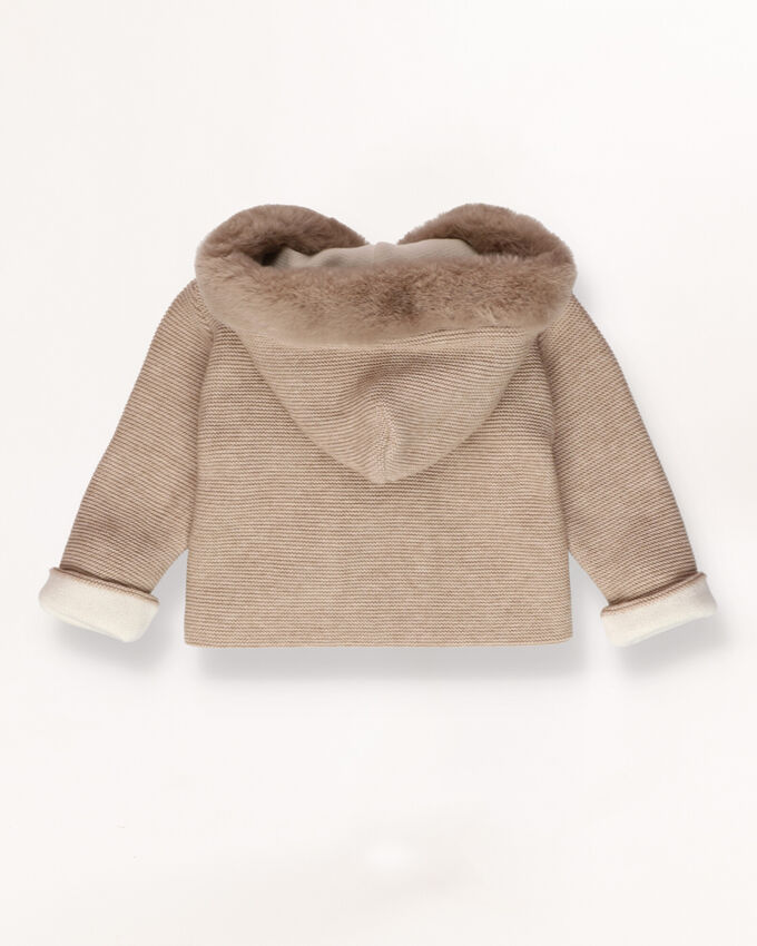 Knitted jacket with fur hood