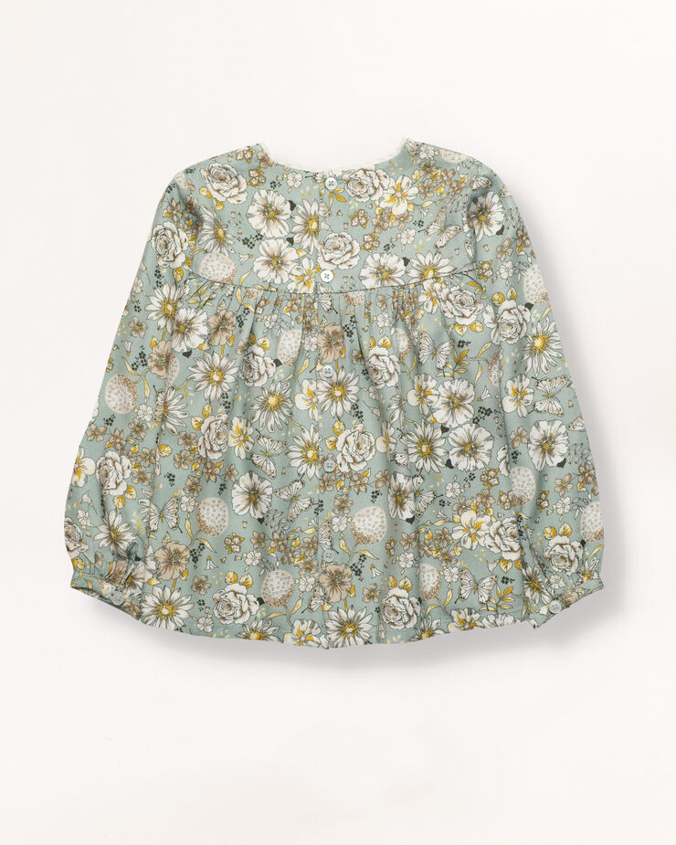 Girl blouse with green, offwhite and yellow flowers and neckline cotton lace