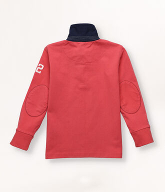 Red rugby polo shirt