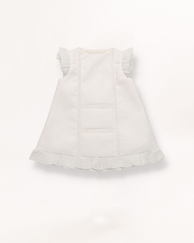 Piqué baby dress with lace detail