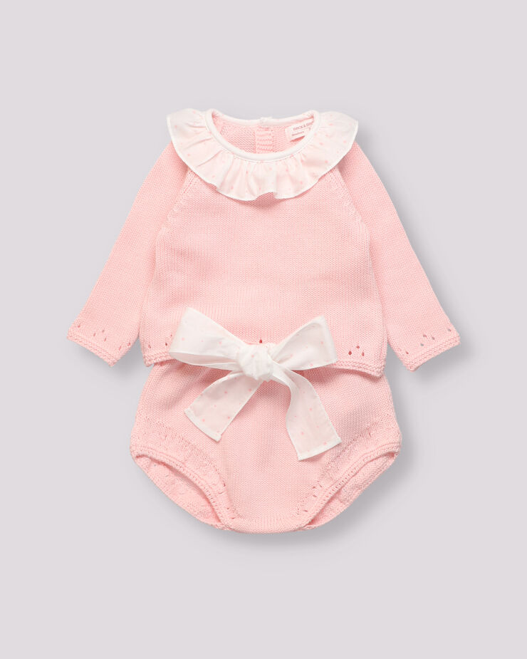 Pink knitted baby girl outfit