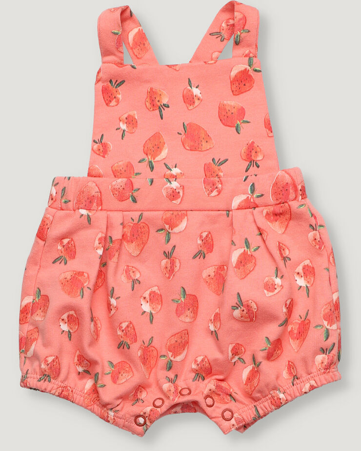 Pink strawberry all over print new born baby unisex French Terry jumpsuit