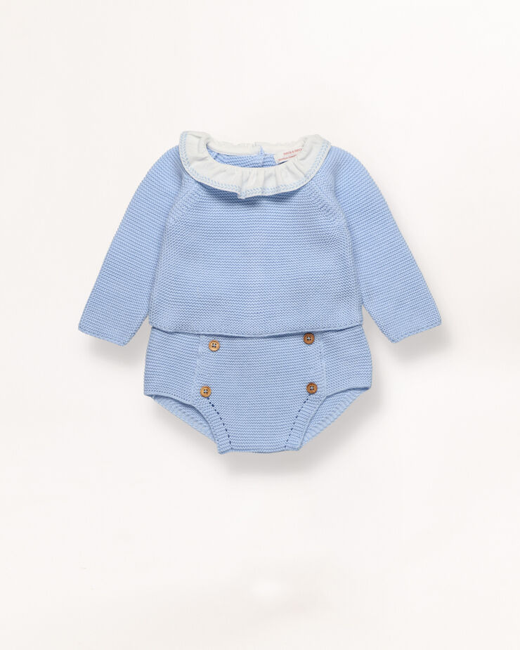 Blue knit set with ruffle collar