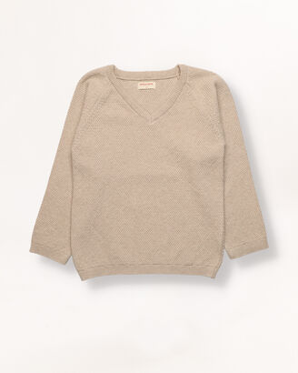 Sand knitted boy jersey with texture.