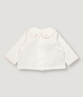 White baby girl blouse with scalloped collar