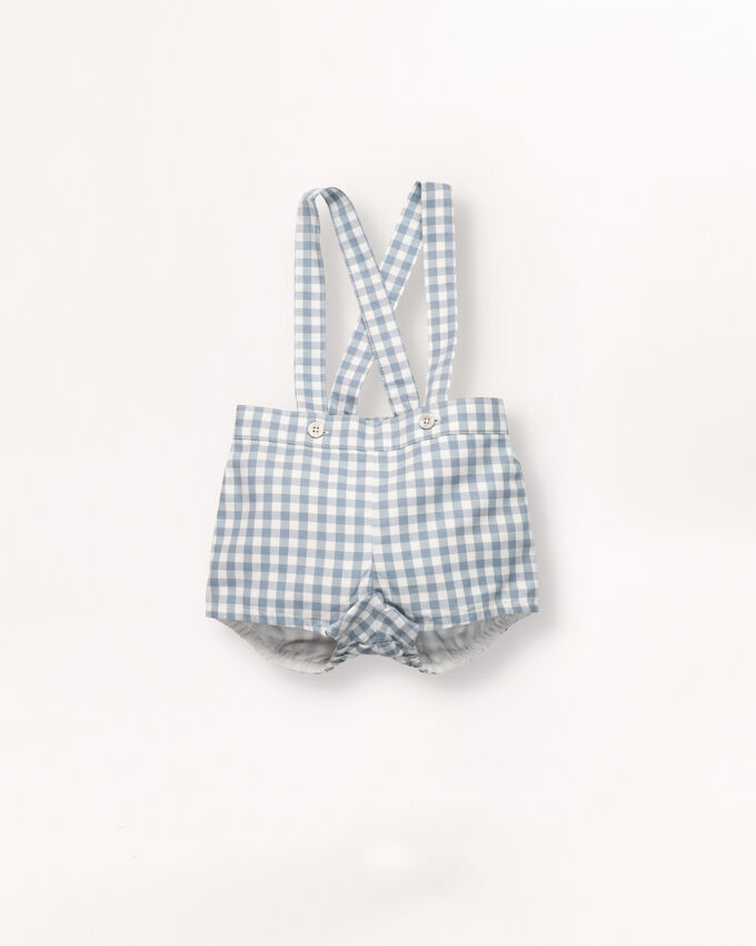Gingham Bermuda shorts with braces