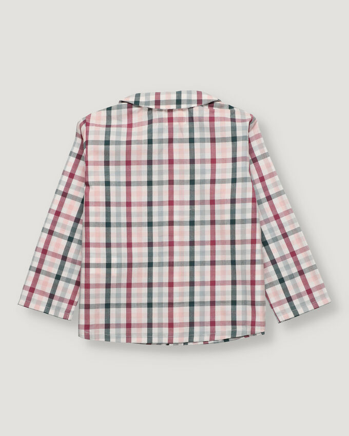 Green and burgandy checked baby boy shirt with baby collar