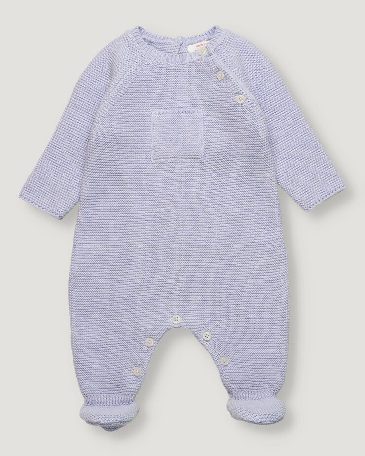 Light blue baby knitted overall with front pocket