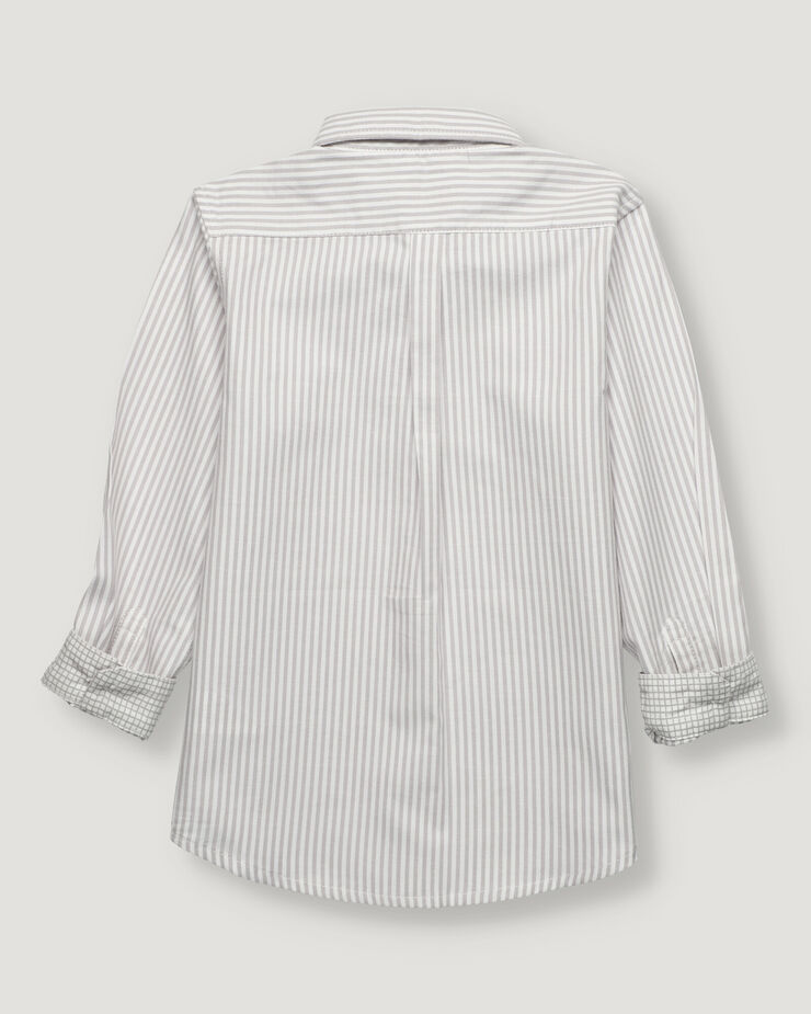 Grey stripes oxford boy shirt with button collar