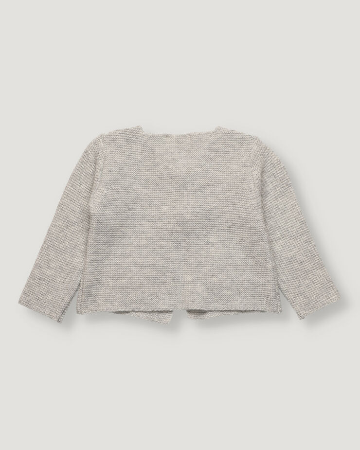 Light grey baby cardigan with pockets and wood barrels