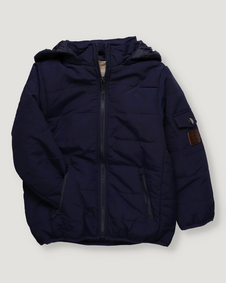 Synthetic boy down jacket.  Navy color
