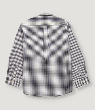 Navy vichy checked boy shirt with half opening