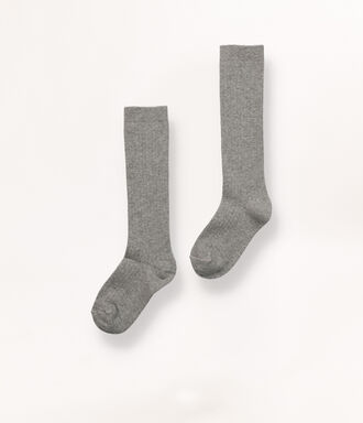 Long grey ribbed socks