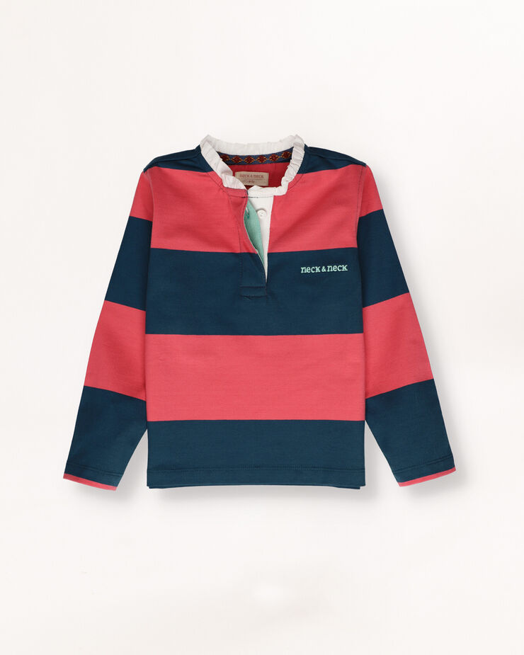 Rugby polo shirt with frill at collar