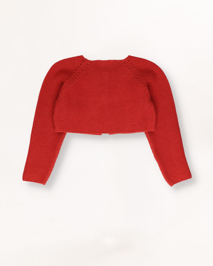 Bright red baby cropped cardigan