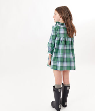 Checked dress with contrast frill