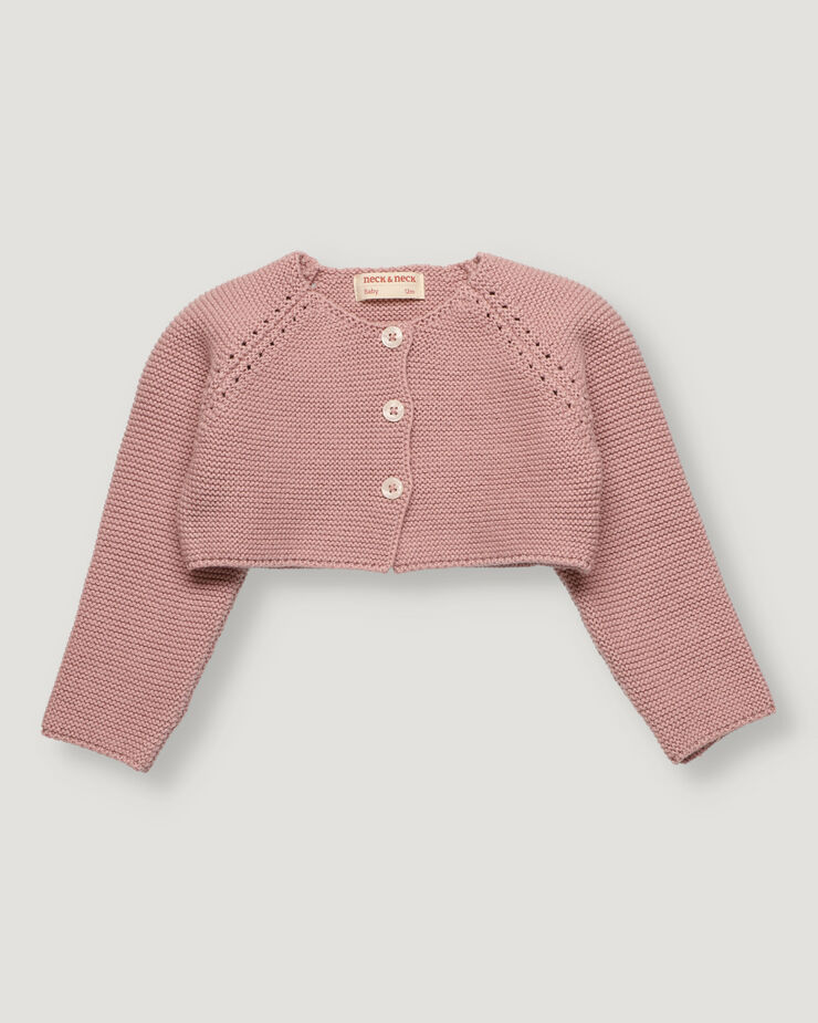 Pink baby girl knitted bolero