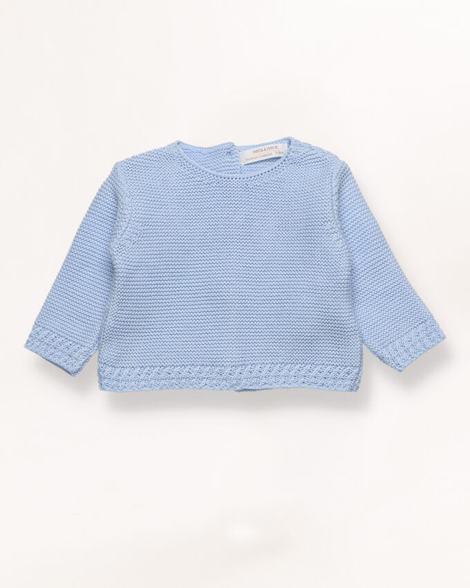 Blue cable knit jumper