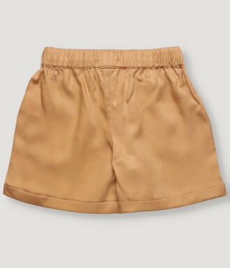 Camel boy shorts in tencel with front pockets and elastic waist band.