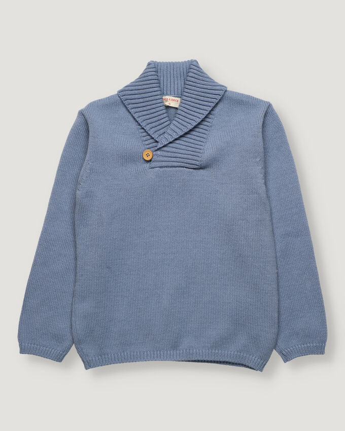 Blue boy pullover with collar