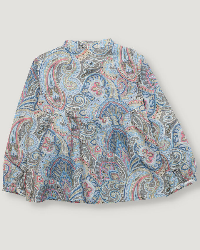 Blue and pink paisley girl blouse