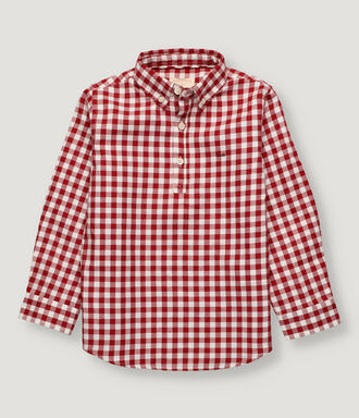 Cherry vichy checked boy shirt with half opening