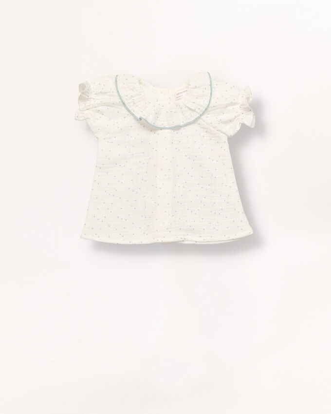 Off white with mini blue dots new born baby boy shirt with collar frills.