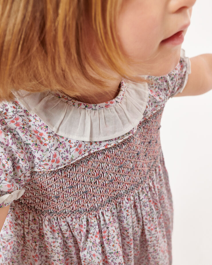 Embroidered dress with smocking detail