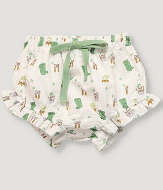 Off white gardener print baby bloomer.