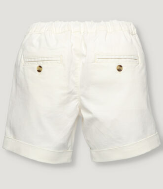Off white basic boy shorts with front button and zipper.