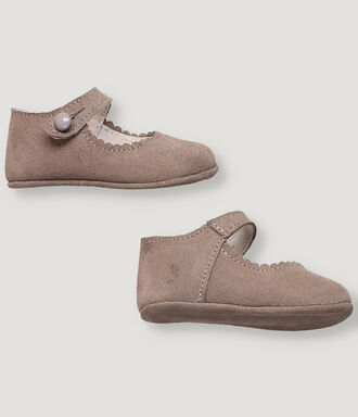 Grey suede baby Mary Janes shoes