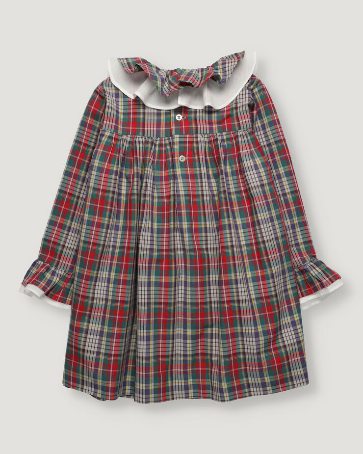Checked dress with double ruffle in collar and sleeves