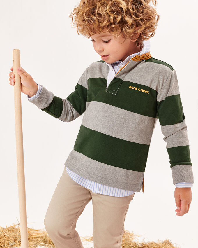 Grey rugby polo shirt with green stripes