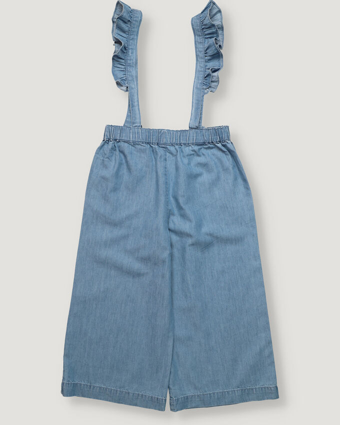Light Blue girl trousers with suspenders, elastic band waist and frills details.