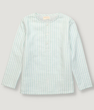 Boy museline shirt with white and green stripes