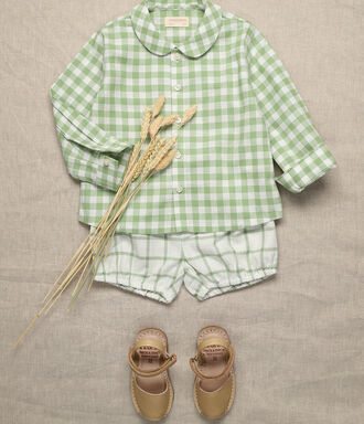 Green and off white vichy baby boy shirt