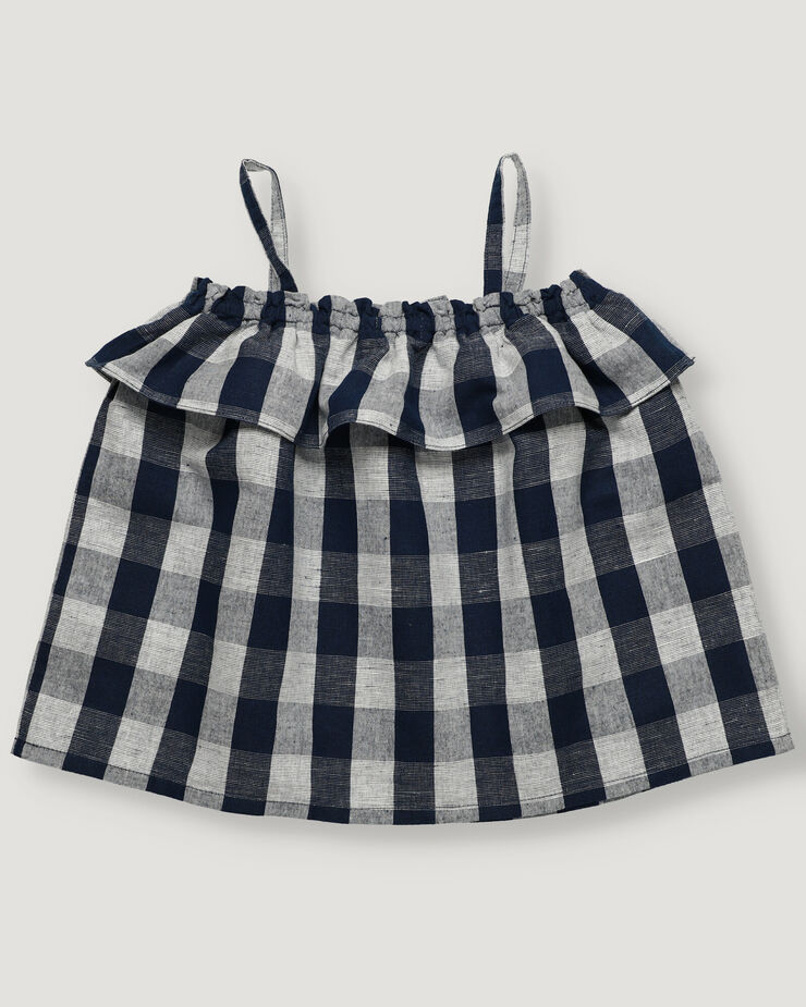 Navy blue vichy girl top with frill details.