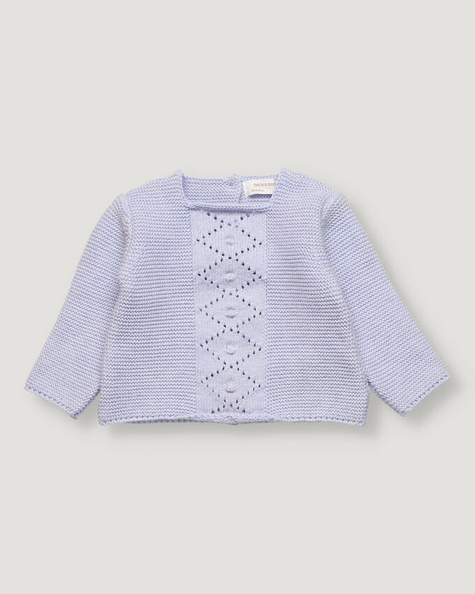Light blue baby pullover with open work