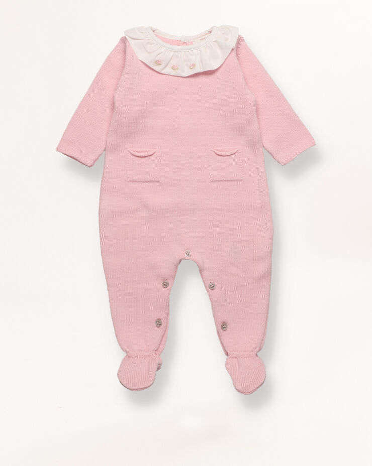 Knit sleepsuit with lace collar
