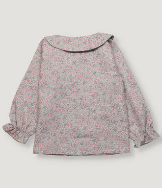 Pink flowered girl blouse with ruffle in collar