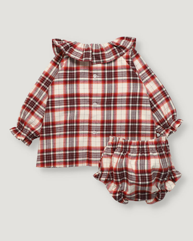 Russet checked baby girl set with ruffle in collar