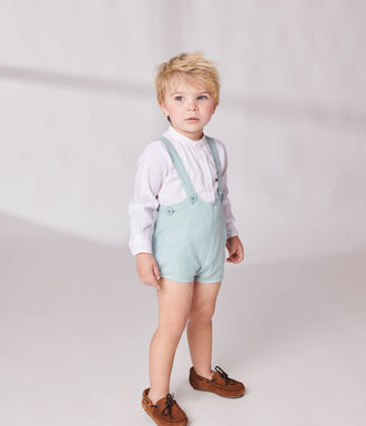 white linen Bermuda short with suspenders for baby boy