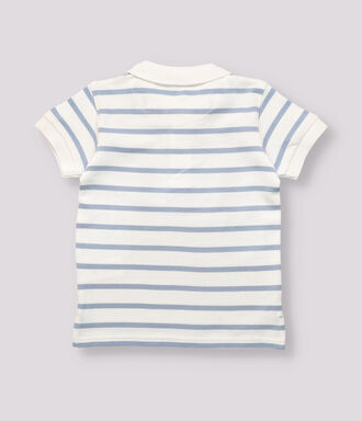 pique blue and white striped boy polo