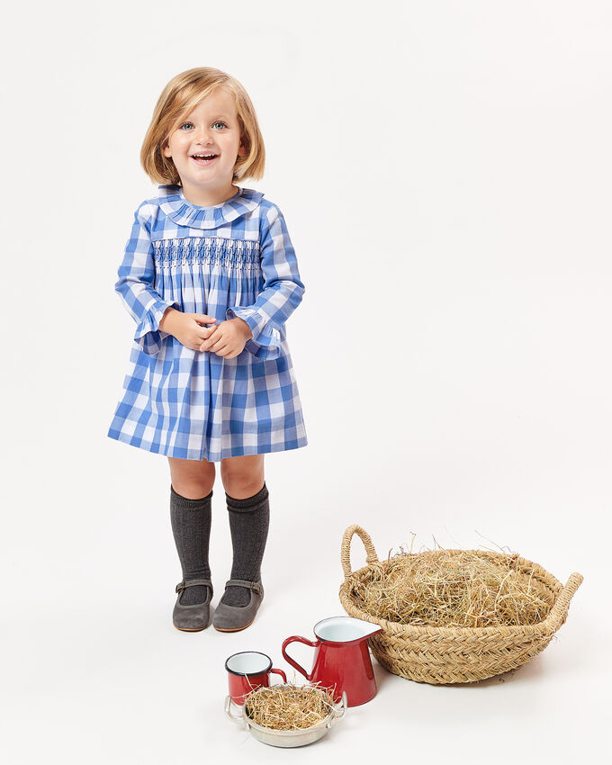 Embroidered checked dress with smocking