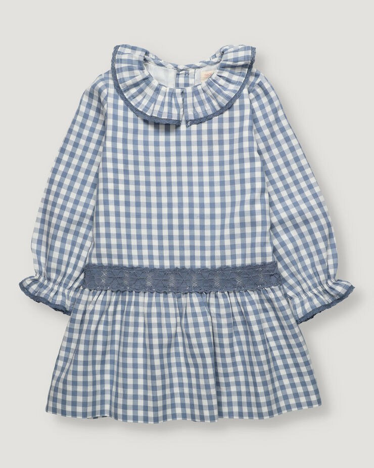 Blue vichy checked dress, low waistband