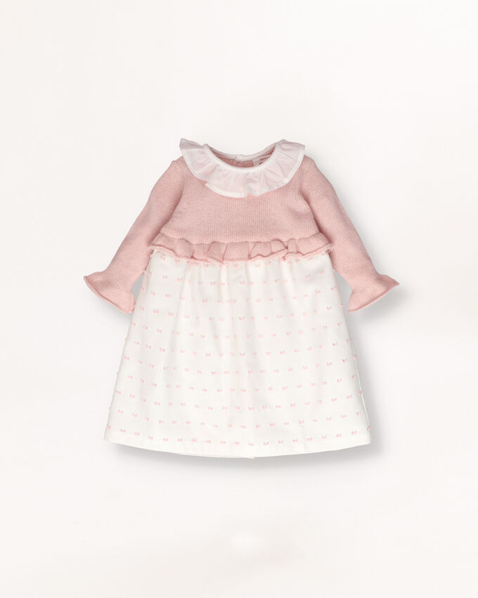 Knitted baby dress outfit