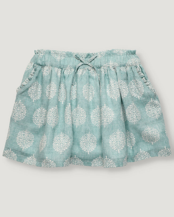 Light green skirt with paisley pattern and elastic waistband and pockets