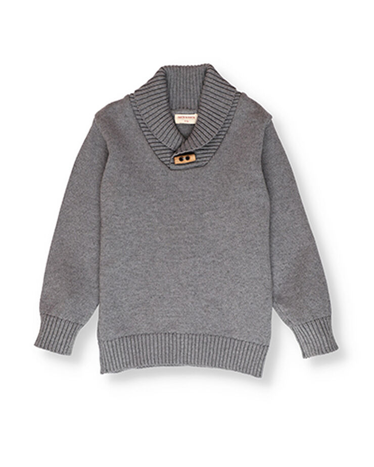 Grey jumper with collar detail.