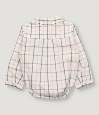 Blue and pink checked baby body-shirt with half opening